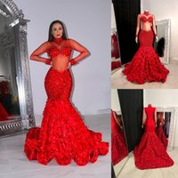 African Red Mermaid Prom Dresses Sexy Sequins High Neck Long Sleeve 3D Rose Flower Evening Gowns Formal Cocktail Dress
