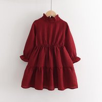 Girl's Dresses 2021 Autumn Elegant Dress Fashionable Puff Sleeves Waist Princess Party Children's Clothes Girls Lovely Costumes Vestidos