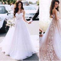 Спагетти Ремни Свадебное платье Vestidos de Novia 2021 Милая Кружева Аппликации Свадебные платья Винтажные платья без рукавов без рукавов