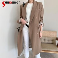 British Style Suit Collar Single- Breasted Long Trench Ladies...