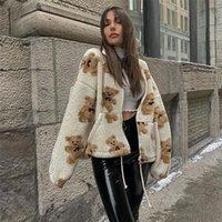 Sonbahar Kış Kalın Kuzu Yün Ayı Ceket Kadınlar Gevşek Fermuar Boy Ceket Y2K Streetwear Moda Tişörtü Hoodie