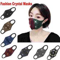 Moda Sparkly Bling Strass Designer Maschera per la bocca Maschera per la bocca Maschera Protezione PM2.5 Maschere per riutilizzo lavabile antipolvere Elastico ELASTICO AFFEOP FY0028