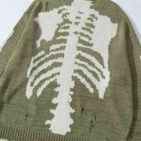 Esqueletos kapital 20 suéteres kawahiro honda buraco quebrado esqueleto pescoço solto