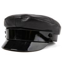 2021 Fashion Ladies Women Army Cap Military Hat Beret Newsboy 100% Sheepskin Leather Size M L XL