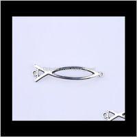 Новая мода серебристый / медь ретро простая линия как рыба подвеска производство DIY ювелирные изделия подвеска подходит ожерелье или браслеты очарование 250 шт. / Лот NIPWE