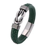 Punk jóias homens verde pulseira de couro irregular enrolamento gráfico de aço inoxidável fecho macho pulseira homem presentes pd0770 charme bracele