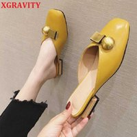 XGRAVITY European American Metal Ball Design Closed Toe Short Heel Slides Sexy Women Slippers Female All Matched Summer Sandals 210429