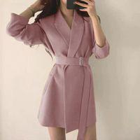 Women's Suits & Blazers Primavera Outono Feminino Longo Jaqueta Com Cinto Entalhado Outwear Senhora Do Escritorio Casaco Inglaterra Est