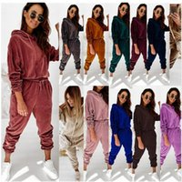 New Women Korean Velvet Tracksuits Fashion Trand Hooded Tops Drawstring Trousers Outfits Designer Female Casual Jogger Velvets Two Piece Sets