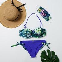 Women's Swimwear SAGACE Swimming Suit 2021 3PCS Sexy Mask Swimsuit Womens Print Bikini Set Tankini Beach Bathing