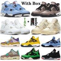 Sapato Nike Air Jordan Retro 4 off white Sail 4s COM Tênis de basquete masculino original Jumpman Aj Jordans IV Travis Scott Purple Cactus Jack Tênis masculino feminino
