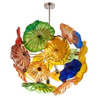 Высококачественные многоцветные современные стены искусства светодиодные подвесные светильники потолочные светильники муранские стеклянные цветники люстры