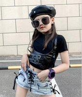 Girls Fashion Vêtements Ensembles de vêtements 2021 T-shirt à manches courtes pour enfants Tops + Veste de ceinture Veste Veste 2pcs Costumes Enfants Tenue tendance S1151