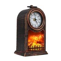 Desk & Table Clocks European Clock Retro Home Decoration Living Room Fireplace Flame Lamp Quartz Desktop Bar Cafe Watch