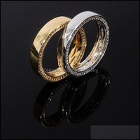 Band Jewelrys925 Sterling Sier Round Finger Rings For Men Women Cz Stone Bling Iced Out Couple Ring Male Hip Hop Rapper Jewelry Drop Deliver