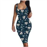 Fashion Casual Printed Slim Fit Women Dress Hip Work Skirt Sleeveless Vest Beach