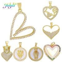 Juya Diy Cubic Zirconia Creative Gold Love Heart Charmnes pour Fashion Femmes Fille Noël Beau Pendentif Bracelet Collier Faire A0603