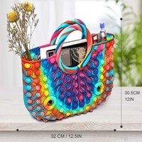 Big Pop Hand Bag Fidget Toys for Girls Pop Purses Beautiful Large Capacity Handbags for Women, Colorful Silicone Handle Satchel Shoulder Bag