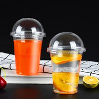 360ml 12oz Disposable Milk Tea Drinking Cup Clear Plastic Takeaway Beverage Packaging Cups with Lids