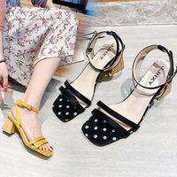2021 Fashion Designer High Chunky Heel Sandals Women Outdoor Elegant Ladies Slides Sandal Square Open Toe Sexy Luxury Slipper