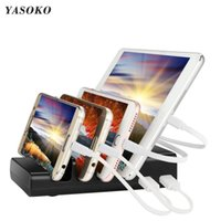 Cell Phone Mounts & Holders Multifunction Desk Holder With 4 Ports USB Charger Mobile Stand For Black Color