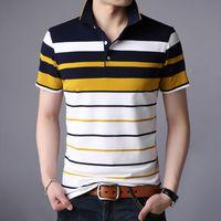 Men's Polos Men'S Classic Striped Polo Shirt Cotton Short Sleeve 2021Summer Plus Oversize M-XXXXL DU4S