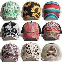 10 Stilleri Kaktüs İnek Tahıl Baskı At Kuyruğu Beyzbol Örgü Kap Criss Çapraz Tepe Net Şapka Moda LLA566