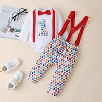 Clothing Sets My First Birthday Rainbow Overalls Born Baby Girl Boy Dot Bowtie Romper Suspender Pants Outfits Conjunto
