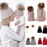 Caps & Hats Fashion Set Mom Mother Baby Knit Pom Bobble Hat Kids Girls Boys Ball Wool Winter Warm Autumn Beanie Cap