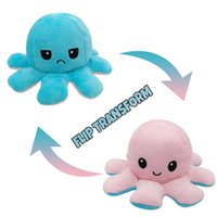 US Stock Illuminated Flip Octopus Stuffed Plush Toys For Children Smile Emotion Reversable Animal Plush Doll Kids Gift Wholesale 1143 X2