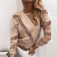 Maglia elegante moda paillettes o-collo camicetta camicette per le donne autunno inverno patchwork manica lunga pullover top ladies casual Blusa 6424 MFIB