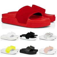 Red Bottom Authentic Leather Slippers Slides Flip Flops Sandals Men Women Spikes Summer Mens Outdoor Slipper DFJD