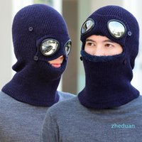 Beanies Winter Hats Scarf For Mens Knitted Warm Windproof Mask With Goggles Ski Cap
