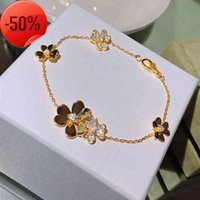 Hot sell 925 Sterling Silver Brand Jewelry For Women Chain Clover Bracelet Praty Wedding Gold Color Flower clover