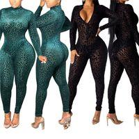 Тренажерный зал Одежда сексуальные женщины видят - через сетку флокирующие леопард комбинезон леди с длинным рукавом передняя молния V-образным вырезом тощий один кусок Bodycon Club Romber