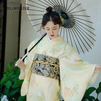 Casual Kleider 2021 Sellworlder Japanischer Kimono-Stil Yukata Retro Mädchen Kleid Frau Gelb Ahorn-Druck Lange mit Handtasche