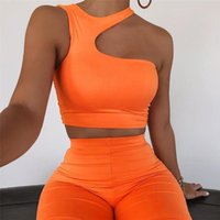 Running Sets Women Tracksuit 2 Pcs Sports Suit Sleeveless Outfits High Waist Yoga Casual Hanging Neck Hollow Out Tight-Fitting Hips Shorts