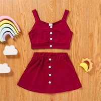 Ins-Stilen Sommer Mädchen Weste Röcke Anzug Multi Farbe Hohe Qualität Pit Streifen Tuch Zweiteiler Anzug Camisole Crop Tops + Kleid Sets Kleidung G6756M0