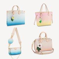 Yüksek kaliteli tasarımcı çanta degrade renk serisi tote kadınlar büyük baskı omuz çantası sırt çantası kılıf cüzdan bayan debriyaj çanta messenger çanta