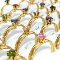 Bulk lots 30pcs gold colour rhinestone rings mix zircon for women fashion elegant loves gifts verlobungring jewelry wholesale