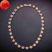 Collar de tenis de estrellas de estrellas minimalista para hombres Mujeres Oro / Plata / Multi Color CB CZ CZ Cuello Cadena de cuello Hip Hop Regalos de joyería