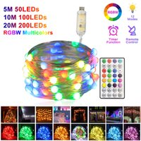 RGB String Light USB Remote Control LED Copper Wire Lights 5M 10M 20M RGBW Fairy Christmas Tree Decor Lamp