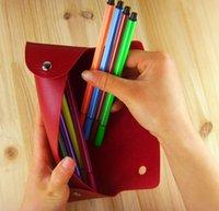 i739 연필 가방 멀티 기능 펜 가방 사각형 PU 가죽 연필 가방 접이식 더블 버클 연필 케이스 고품질 SN3413 {카테고리}