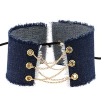 Blue Jeans Denim Chokers Necklace Collar wide Multilayer Chains Lace Adjustable Necklaces neck band for Women Grils Party Nightclub Fashion Jewelry Will and Sandy