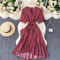Foamlina Summer Short Sleeve Women Dress French Style V-neck Floral Print Lace-up Sashes Wrap Ruffles Midi Party Casual Dresses