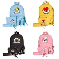Three-piece Korean wave around the bag children's group backpack cartoon canvas candy color sports three-piece set