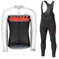 Erkekler Scott Takımı Bisiklet Forması Takım Elbise Uzun Kollu Hızlı Kuru Bisiklet Gömlek Önlüğü Pantolon Kitleri Yol Bisiklet Kıyafetler Açık Spor Üniforma Y20101602