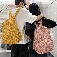 Backpack Waterproof Nylon Women Men Fashion Stripe Travel Bag Unisex Portable Day Packs College Couples Schoolbag