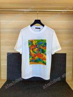 21SS Men Stampato T Shirt Designer Paris Dinosaur Pittura a olio Lettera Vestiti manica corta Mens Camicia da uomo Tag bianco nero 05