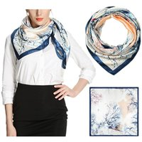 25#Women's Satin Square Silk Feeling Hair Scarf Wrap Headscarf Prussian Pattern Retro High Qulity Multi-Purpose Shawl Scarves